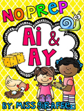 AI AY Worksheets and Activities {NO PREP!} Great for distance learning packets!