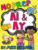 AI AY Worksheets and Activities {NO PREP!} Long A Vowel Teams Worksheets (Pairs)