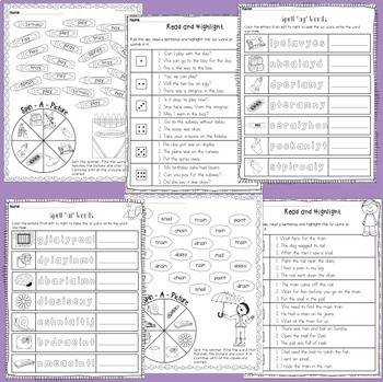 AI and AY vowel digraphs - posters and worksheets
