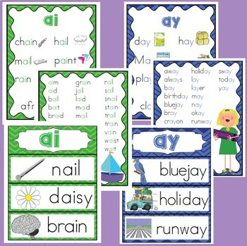AI and AY vowel digraphs posters and worksheets
