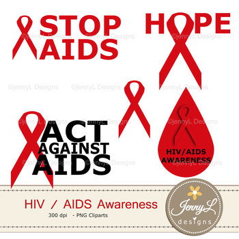 AIDS / HIV Awareness Digital papers and clipart SET