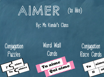 AIMER Verb Cards: Word Wall Cards, Verbathon Cards, and Conjugation Puzzles!