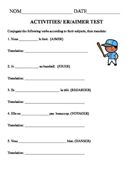 AIMER test with activities in French