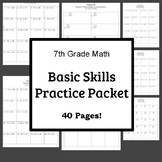 AIMS Computation Practice Packet-Basic Skills 7th Grade