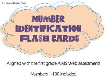 AIMSWEB: Number Identification Flash Cards
