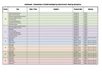AIMSweb Testing Schedule