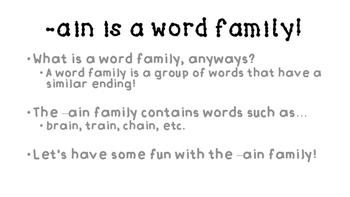 AIN word family activities!