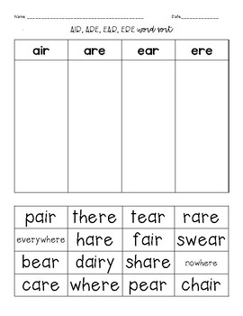Air, Ere, Are, Ear Worksheets & Teaching Resources | TpT