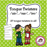 """Tongue Twisters for """"AIR"""", """"EER"""" and """"IRE"""" - a Speech Carryover Activity"""