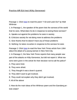AIR ELA Practice Test #3: The Kitty Genovese Murder (Reading and Writing)
