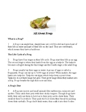 AIR Test Prep: Reading questions and writing prompt for informational text:Frogs