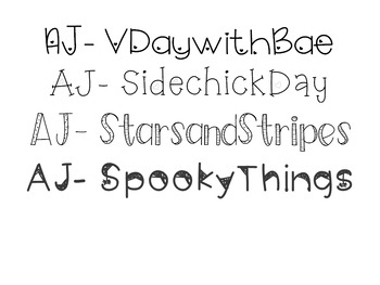 AJ Fonts-  Holla Days (Holiday)  Themed Fonts