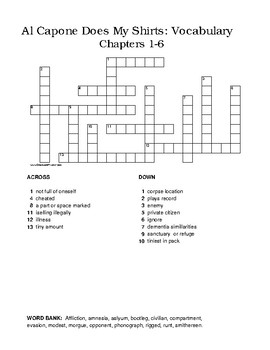 Al Capone Does My Shirts - Vocabulary Crosswords