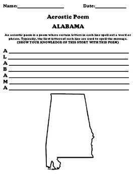 ALABAMA Acrostic Poem Worksheet