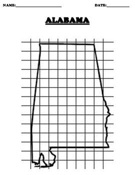ALABAMA Coordinate Grid Map Blank