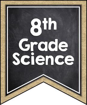 ALABAMA SCIENCE STANDARDS BANNERS, 8th GRADE, BURLAP & CHALKBOARD