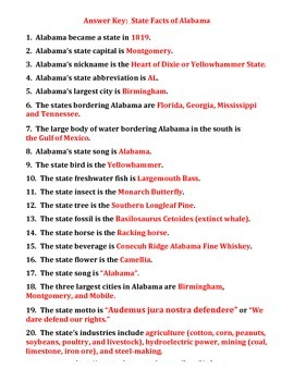 ALABAMA FACTS UNIT (GRADES 3 - 5)