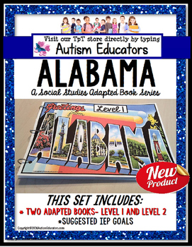 ALABAMA State Symbols Adapted Book for Special Education and Autism