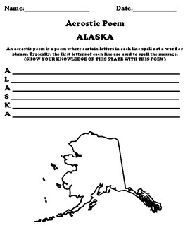 ALASKA Acrostic Poem Worksheet