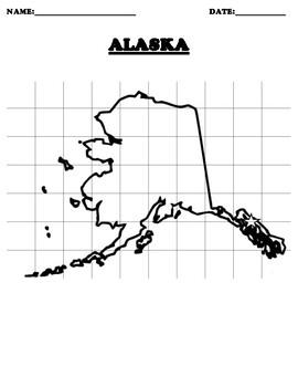 ALASKA Coordinate Grid Map Blank