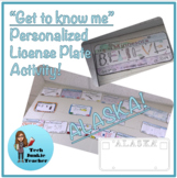 Alaska Get to Know Me License Plate Activity