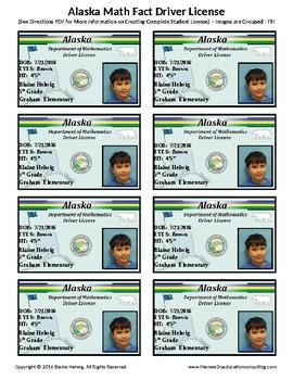 ALASKA Math Driver's License - Math Fact Incentive Program -TEMPLATES - FREE