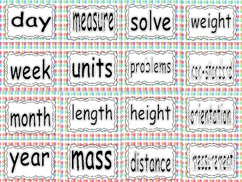 ALBERTA MATH ~ MEASUREMENT ~ Word Wall Words