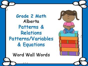 ALBERTA MATH ~ PATTERNS & RELATIONS - Word Wall Words