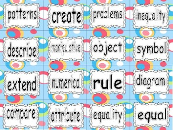 ALBERTA MATH ~ PATTERNS & RELATIONS - Word Wall Words