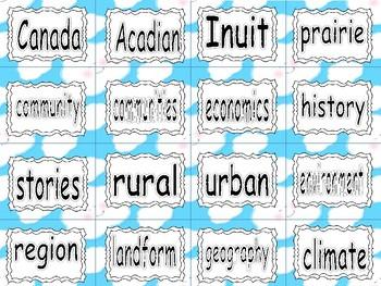 ALBERTA SOCIAL STUDIES ~ Unit 1 Communities in Canada ~ Word Wall Words