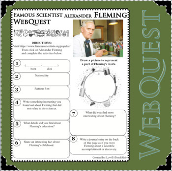 ALEXANDER FLEMING - WebQuest in Science - Famous Scientist - Differentiated