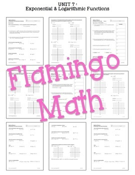 Algebra 2: Exponential and Logarithmic Functions Review-Quiz-Test Bundle