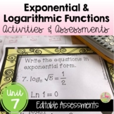 Algebra 2 Exponential and Logarithmic Functions Review-Quiz-Test Bundle