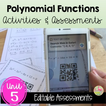 Polynomial Functions and Equations Review-Quiz-Test Bundle