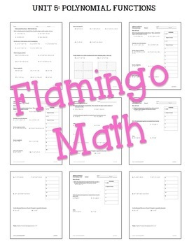 Algebra 2: Polynomial Functions and Equations Review-Quiz-Test Bundle