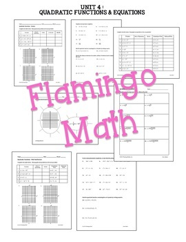 Algebra 2: Quadratic Functions Review-Quiz-Test Bundle