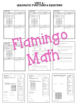 Algebra 2: Quadratic Functions and Equations Activities and Assessments Bundle