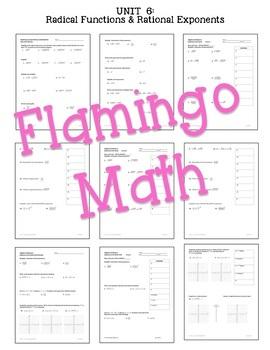 Algebra 2 Radical Functions Review-Quiz-Test Bundle