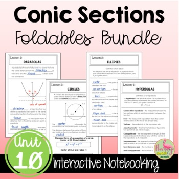 Algebra 2 Conic Sections FOLDABLES® Bundle
