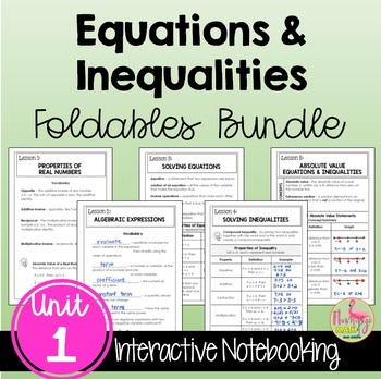 Expressions Equations and Inequalities FOLDABLES Bundle