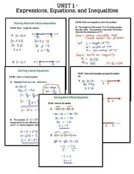 Expressions Equations & Inequalities SMART Board®  (Algebra 2 - Unit 1)