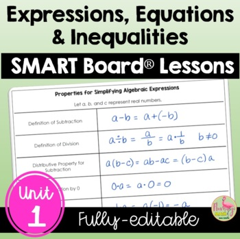 Expressions Equations and Inequalities SMARTBOARD Lessons Bundle