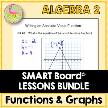 Algebra 2: Functions Equations and Graphs SMARTBOARD Lessons Bundle