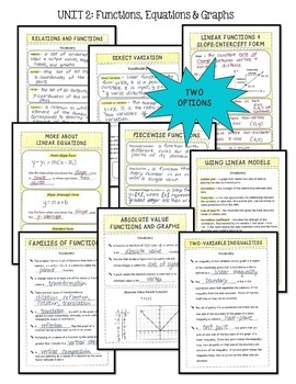 Algebra 2: Functions Equations and Graphs FOLDABLES® Bundle