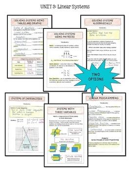 Algebra 2: Linear Systems & Inequalities FOLDABLES Bundle