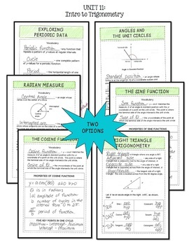 Algebra 2 Introduction to Trigonometry FOLDABLES® Bundle