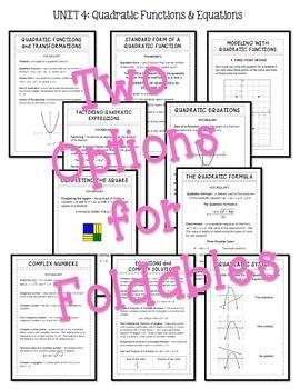 Algebra 2: Quadratic Functions and Equations FOLDABLES® Bundle