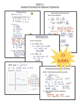 Radical Functions SMART Board® Bundle  (Algebra 2 - Unit 6)