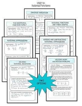 Algebra 2: Rational Functions Foldables Bundle