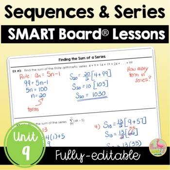 Sequences and Series SMARTBOARD Lessons Bundle